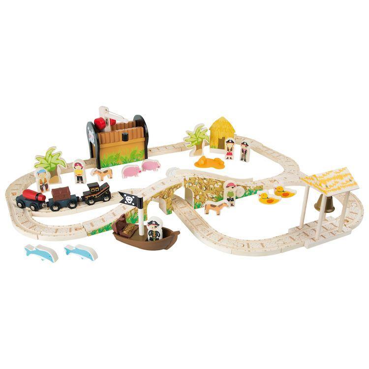 Set ferrovia in legno Gioco Isola dei Pirati Legler 3123