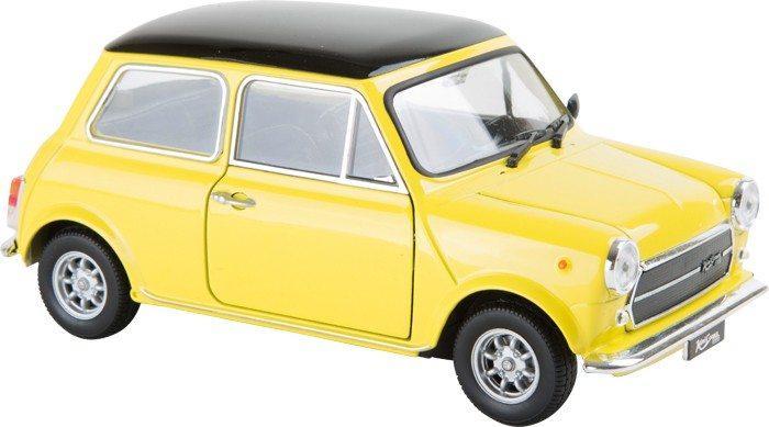 Veicolo auto Mini Cooper 1300 colore giallo con sportelli e cofano apribili