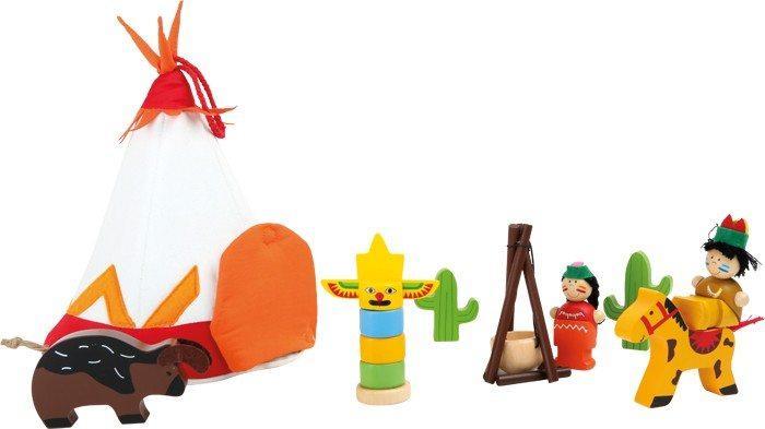 Set da gioco in legno Indiani mondi in miniatura