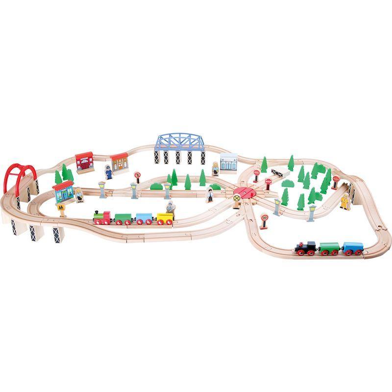 Set ferrovia in legno con accessori Traffico di pendolari gioco Legler 10087