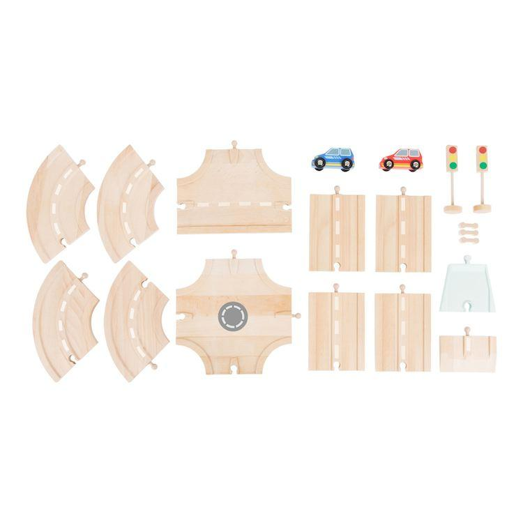 Set completo Strada 17 pezzi Accessori trenino legno Small Foot World