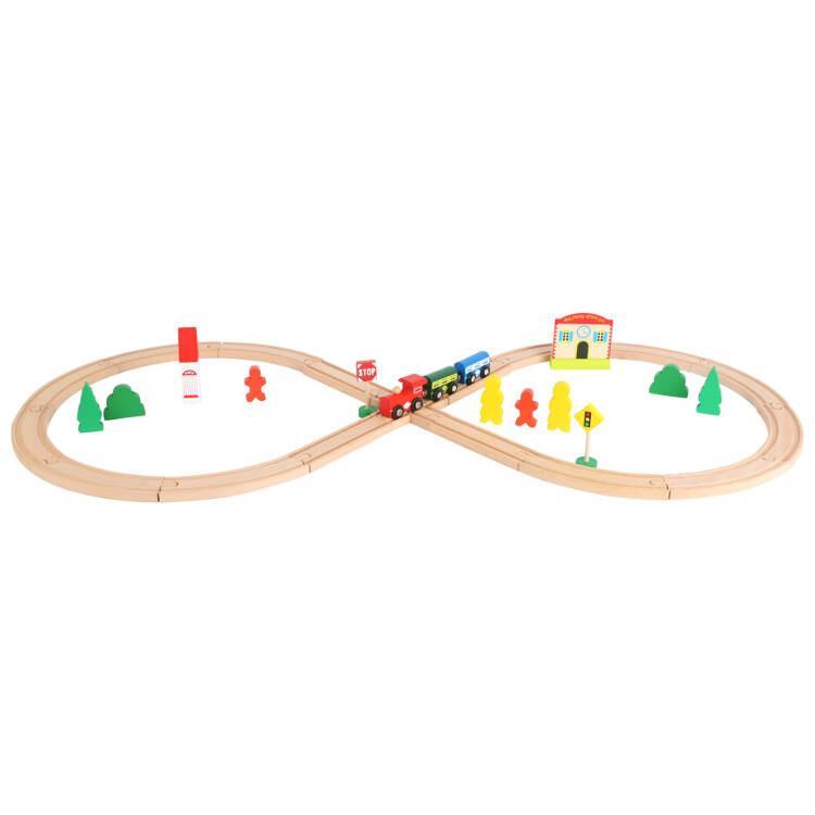 Pista trenini ferrovia in legno con stazione