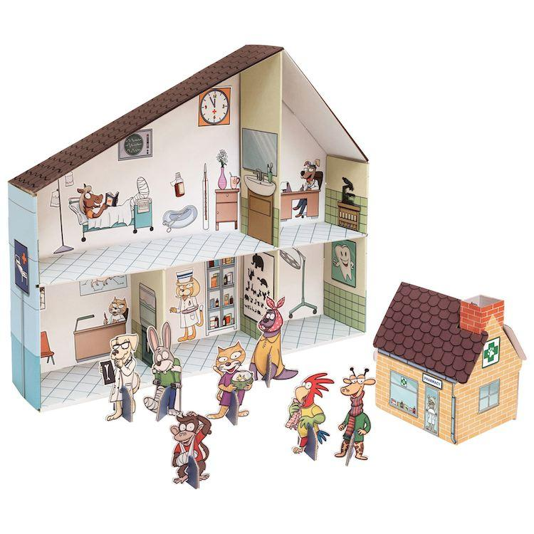 Casa delle Bambole in Cartone Clinica Veterinaria Legler 10764