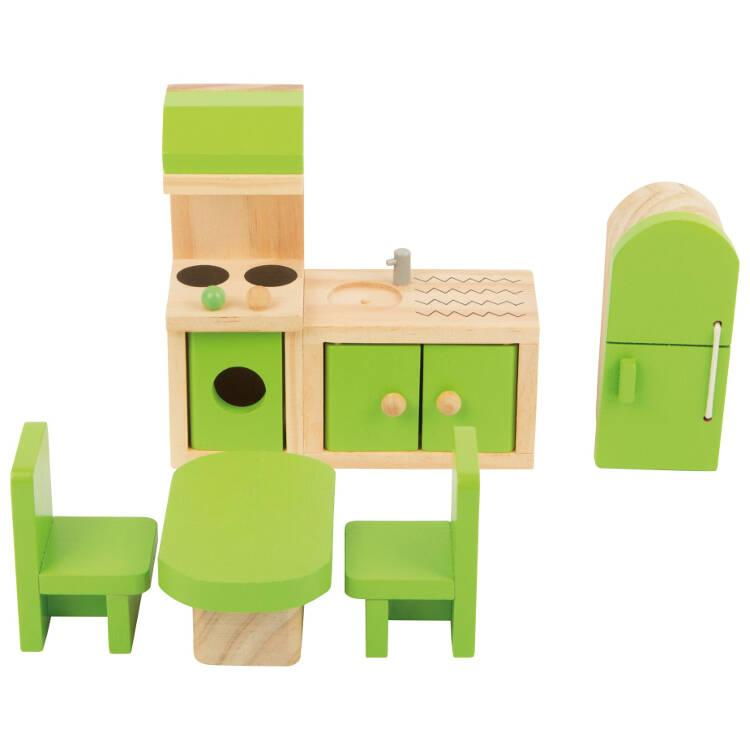 Casa delle bambole mobili in legno per la Cucina