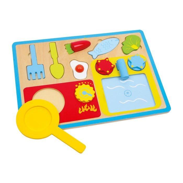 Puzzle colazione in legno gioco bambini