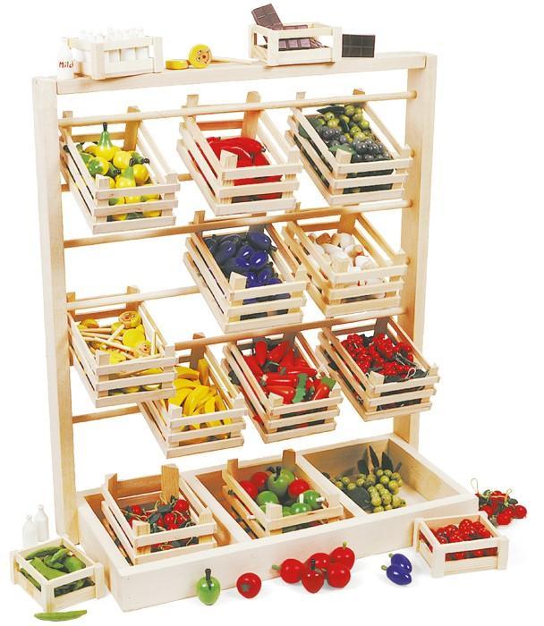 Bancone-negozio da mercato in legno gioco per bambini