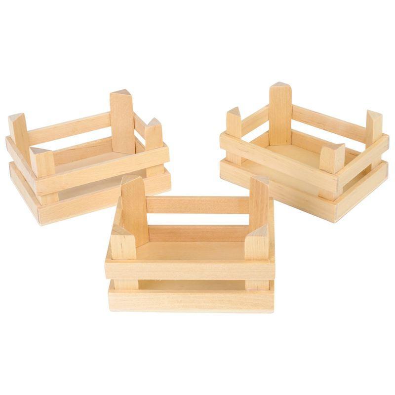 Cassette in legno per esposizione prodotti bancarella gioco bambini