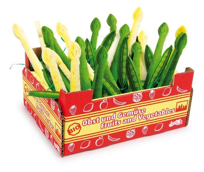 Cassetta in legno con verdura complemento bancarella-negozio per bambini