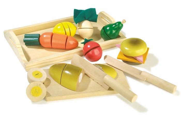 Colazione al taglio con tagliere e coltelli in legno giocattolo per bambini