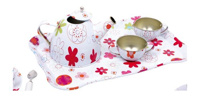 Servizio da tè in latta giocattolo per bambine Set 21 pezzi