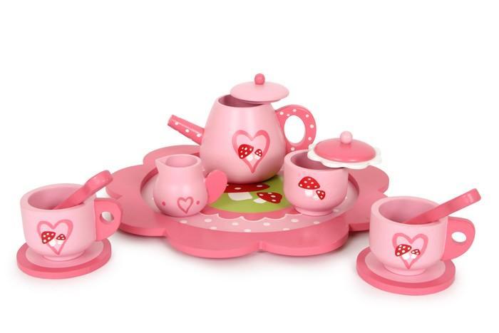 Servizio da tè in legno laccato con 11 pezzi gioco per bambine