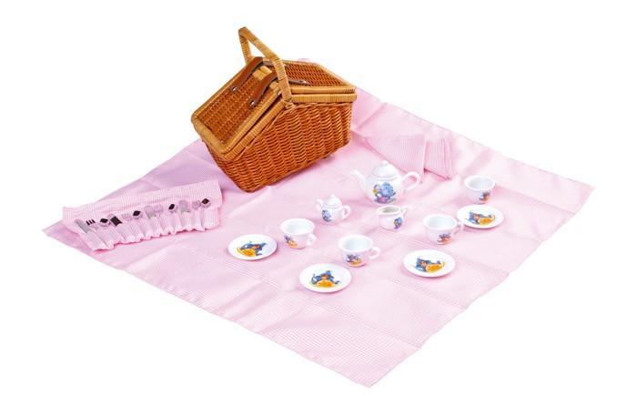 Cestino in vimini con servizio di porcellana per bambini set 30 pezzi