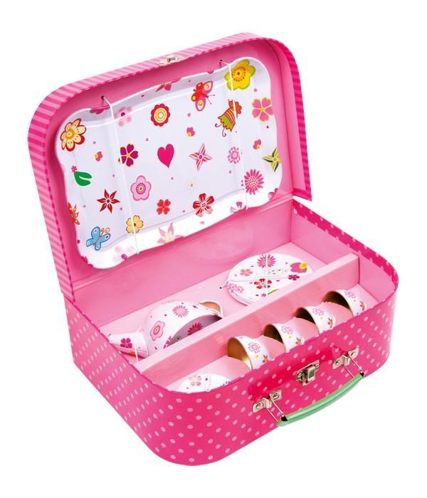 Cestino picnic Fiori con set completo da 4 per il Thè giocattolo per bambine