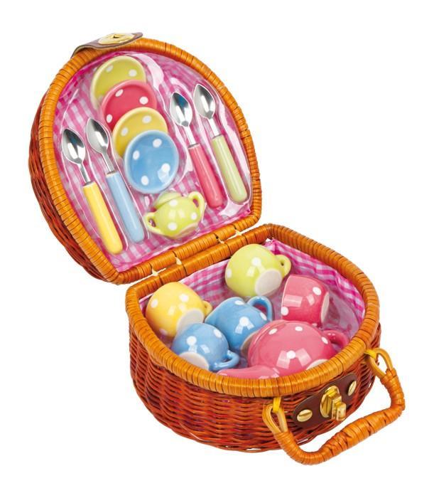 Set completo da thè colorato con cestino picnic gioco bambine
