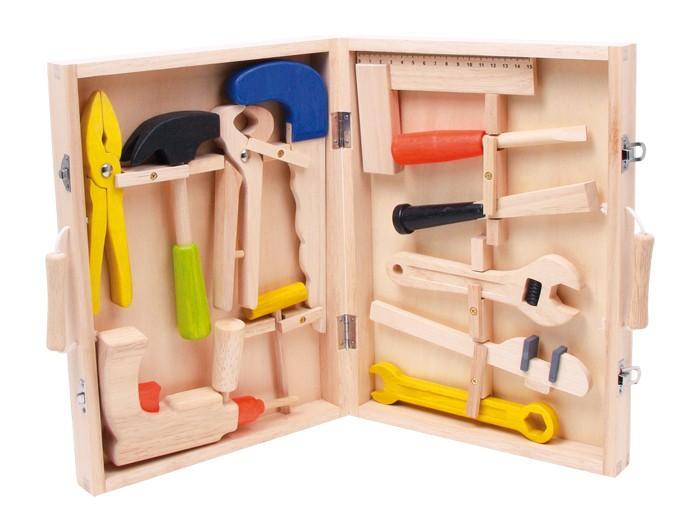 Attrezzi giocattolo in legno con valigetta set da 12 Gioco per bambino