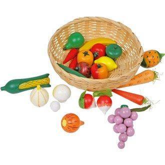 Cesto in vimini con verdura in legno accessori gioco cucina Bambini