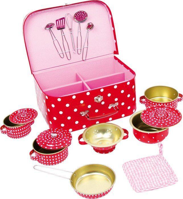 Cestino picnic a pois con pentole e utensili da cucina Giocattolo per bambine