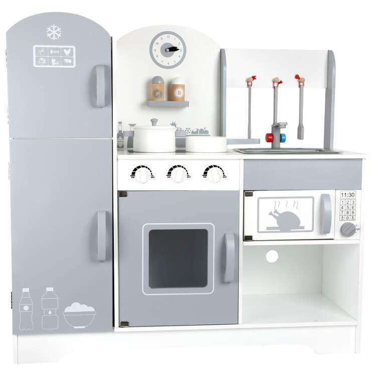 Cucina giocattolo in legno con frigorifero e accessori