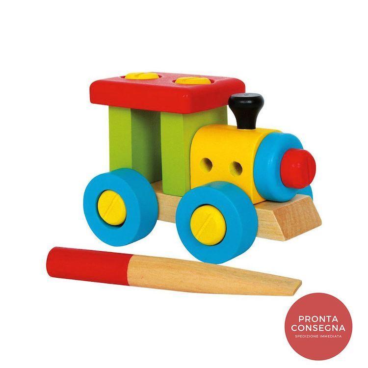 Locomotiva da costruire trenino in legno colorato