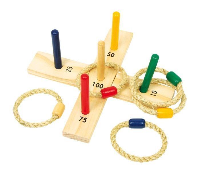 Lancia l'anello in legno giocattolo giardino casa