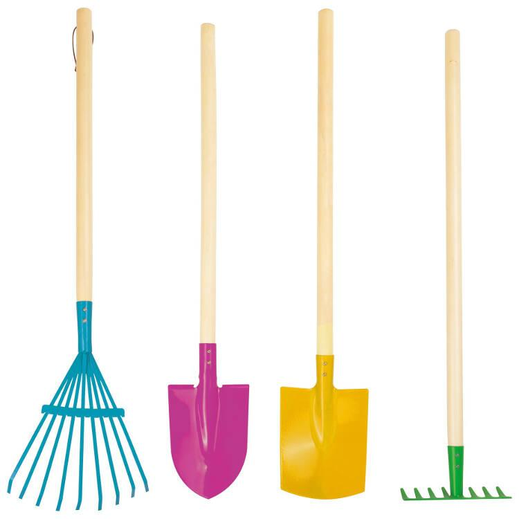 Set attrezzi da giardinaggio variopinti per bambini