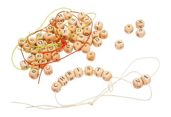 Perle dadi catene di lettere in legno gioco didattico bambini