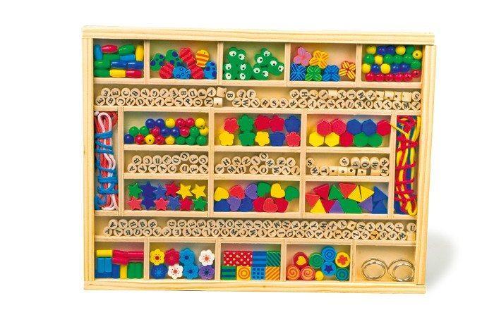 Scatola in legno da decorare con perline gioco bambini