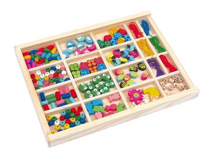 Scatola portagioie da infilo con perle in legno per creare collanebracciali e pendagligioco