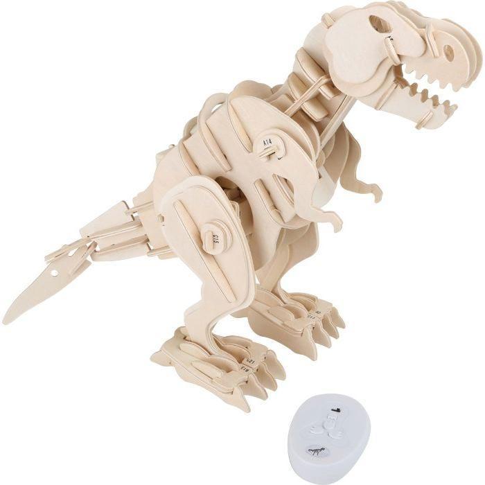 Set costruzioni in legno Dinosauro robot T-Rex con movimento telecomandato e suoni