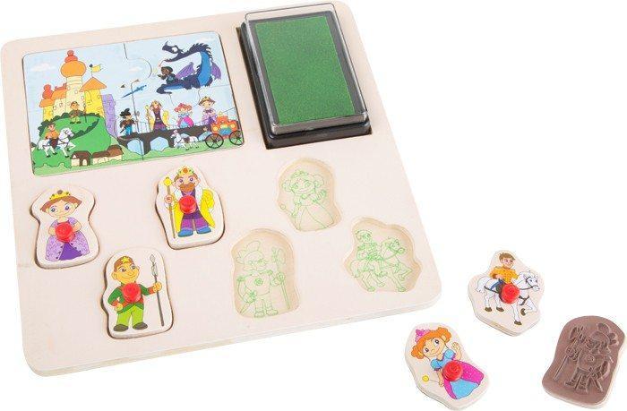 Timbro e puzzle in legno Cavalieri e Pirati Gioco per bambini