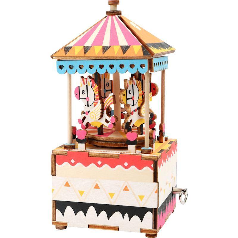 Carillon in legno da costruire Giostra di cavalli Costruzioni 3D Legler 10289