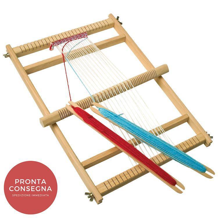 Telaio da Tessitura Giocattolo con 2 stecche per Gioco Scuola