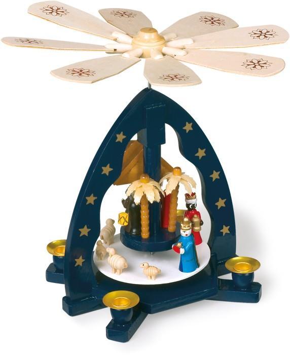 Presepe forma di piramide con porta candela in legno Regalo per Natale