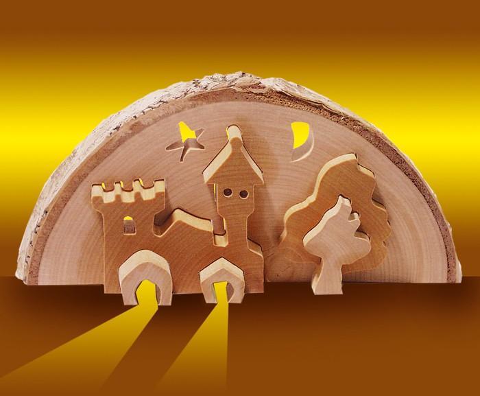 Castello tridimensionale decorazione in legno presepe Natale
