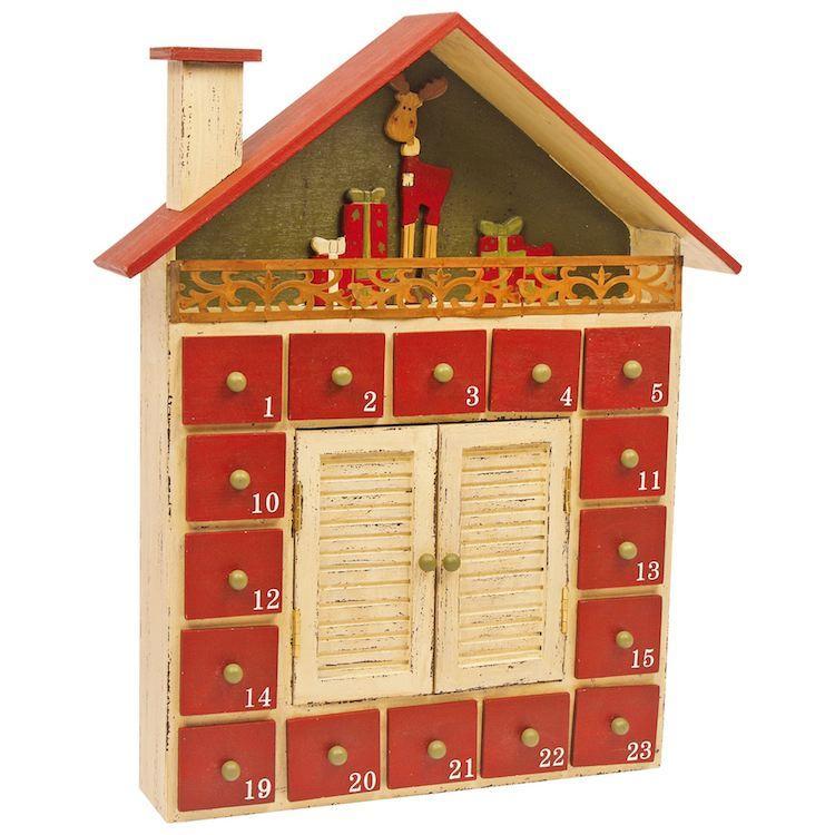 Calendario dell'avvento Capanna invernale in legno decorazione natalizia