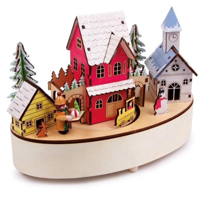 Carillon Periodo Invernale in legno con luci a Led decorazione Natale