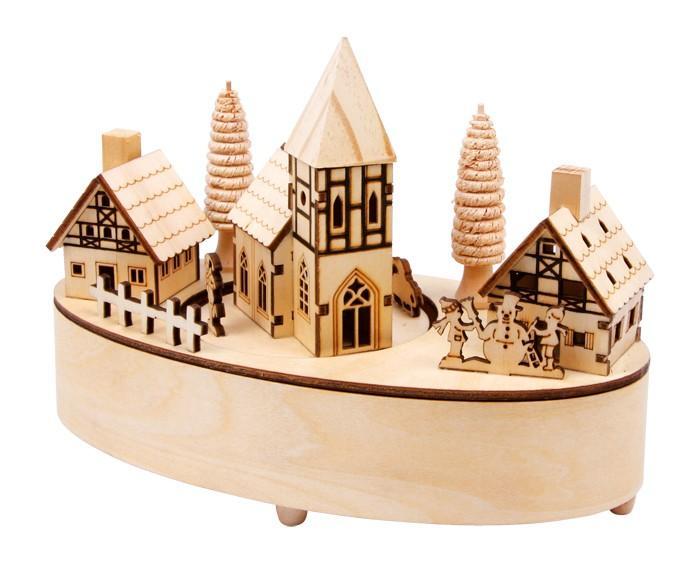 Carillon in legno Piccolo villaggio con luci a LED  per Natale