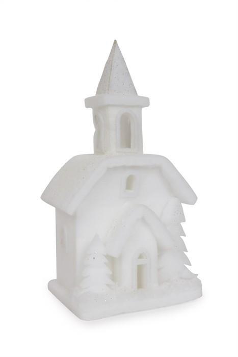 Chiesa con illuminazione decorazione natalizia