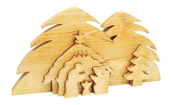 Presepio in 3D in legno massiccio regalo per Natale