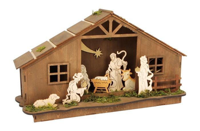 Casa-Presepe di Natale in legno con illuminazione  per Natale