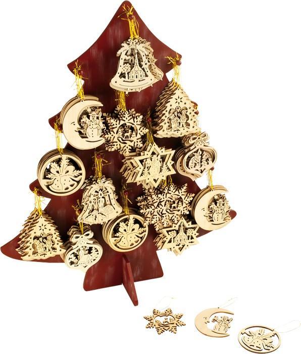 Espositore-display con pendagli in legno addobbi per Natale Ideale per negozi