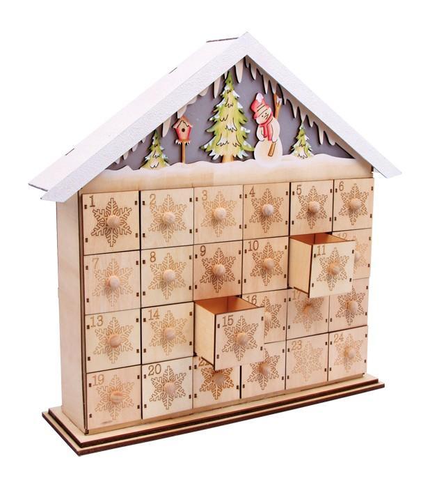 Calendario dell'avvento in legno Pupazzo di neve con illuminazione Natale