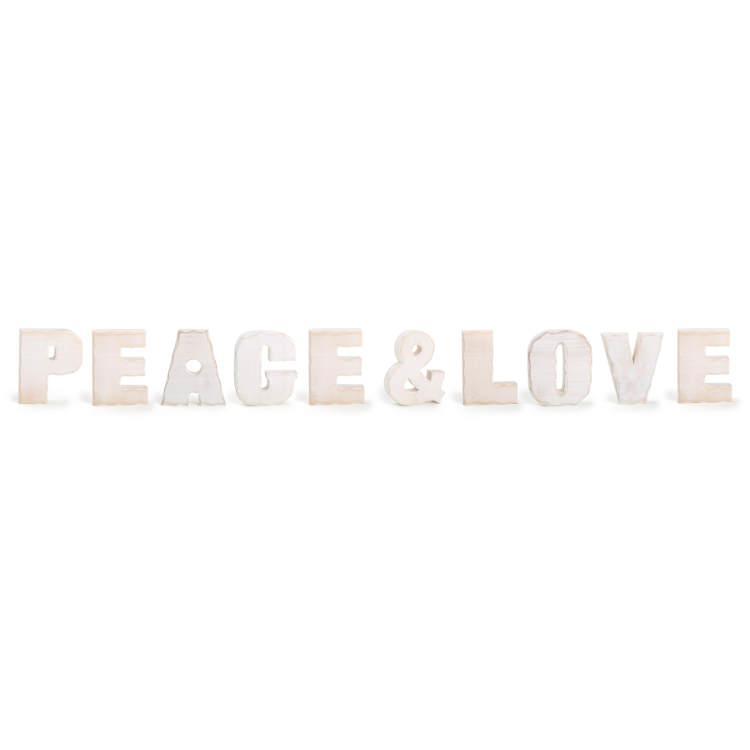 Peace e Love (pace e amore) scritta decorativa in legno arredo casa