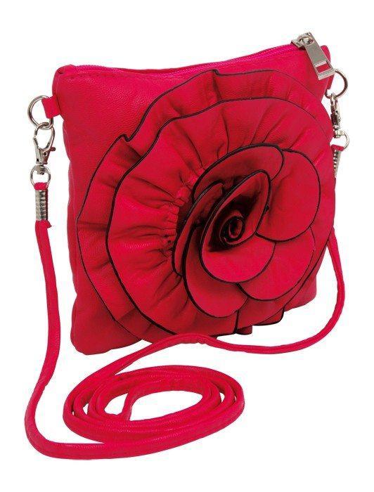 Borsa/borsetta rossa per bambine con applicazione grande fiore