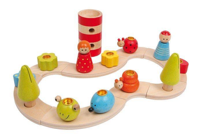 Set compleanno con portacandele ad incastro in legno colorato