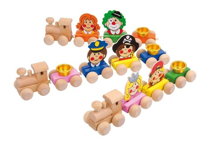 Trenino compleanno con facce divertenti in legno coloratoregalogioco bambini