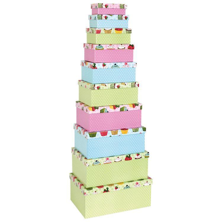 Scatole diverse misure box per regali compleanno cupcake set da 10 pezzi
