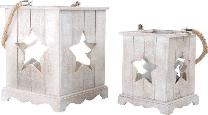 Lanterna di legno Natalizia per casa giardino ambienti interni ed esterni Set da 2