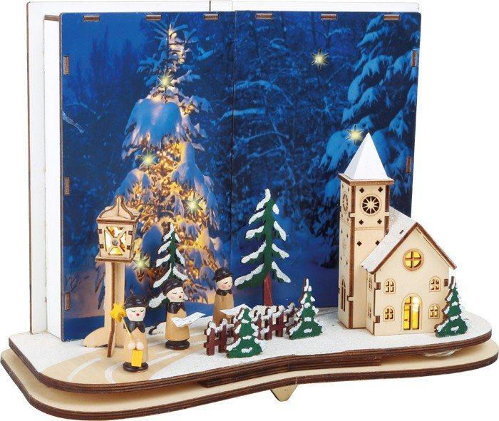 Lampada decorativa Storia del Natale in legno con illuminazione