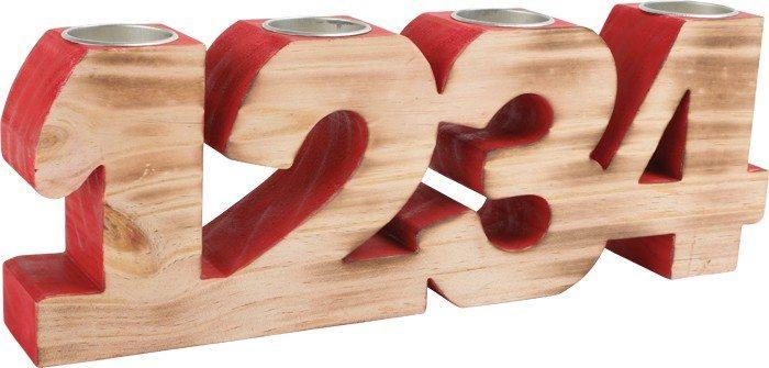 Portacandele Avvento in legno Decorazione natalizia